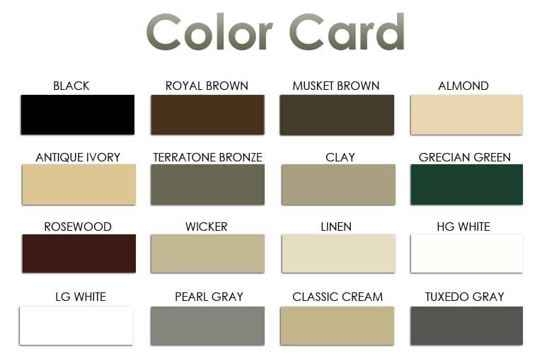 Color Card for Siding Lynch Aluminum